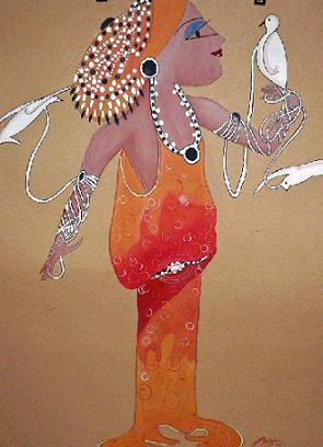 Click for more details of Woman With Pigeons (watercolour on paper) by Abhilasha Singh