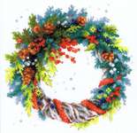 Click for more details of Wreath with Blue Spruce (cross stitch) by Riolis