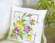 Yellow and Pink Rose Cushion Front