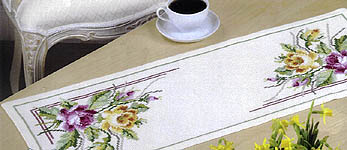 Click for more details of Yellow and Pink Rose Table Runner (cross stitch) by Permin of Copenhagen