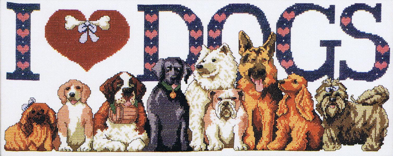 Cross stitch pattern of a dog - a symbol of 2018 5