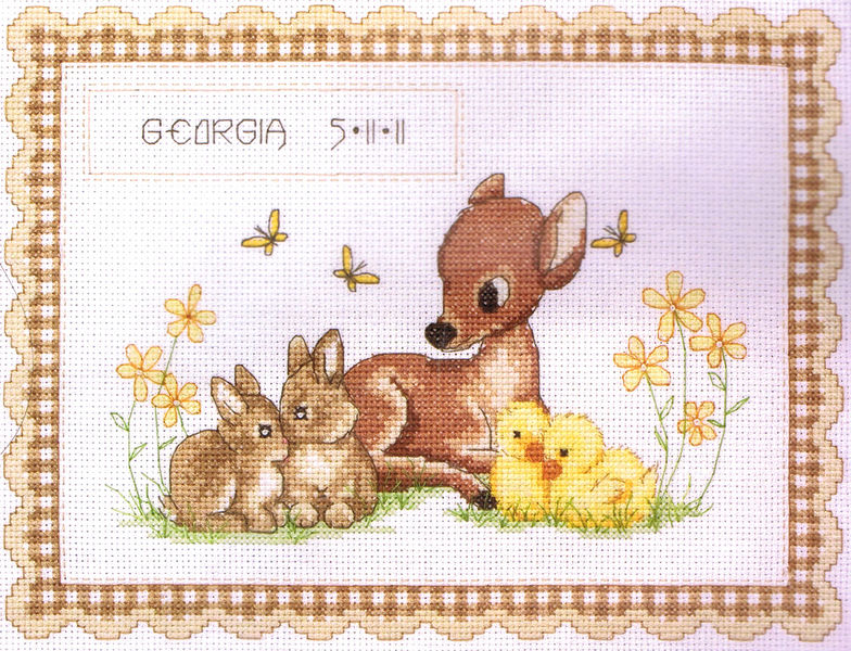 Baby Animal Birth Record cross stitch kit by Anchor – Birth Announcements Cross Stitch