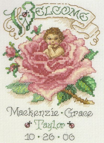 Briar Rose Baby Birth Announcement cross stitch kit by Janlynn – Baby Announcement Cross Stitch
