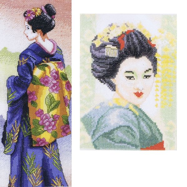 Full counted cross stitch kit JAPANESE GEISHA girl all materials needed