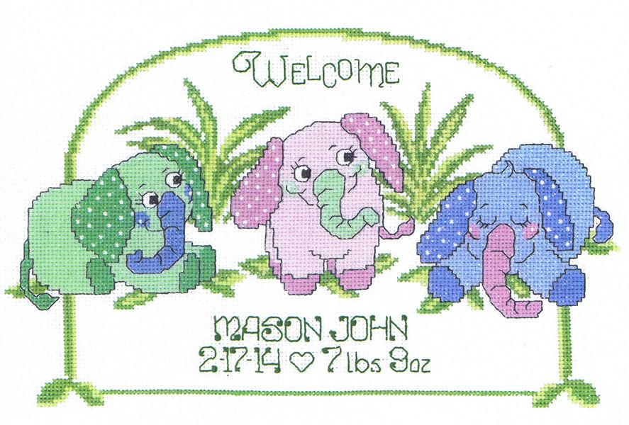 Baby Elephant Birth Announcement cross stitch pattern by Imaginating – Baby Announcement Cross Stitch