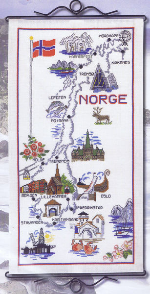 Map Of Norway Cross Stitch Kit By Permin Of Copenhagen - Norway map and cities
