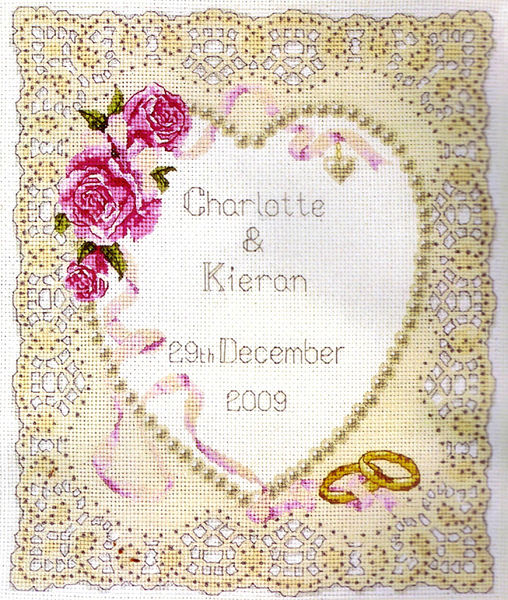 floral heart wedding cross stitch kit by anchor