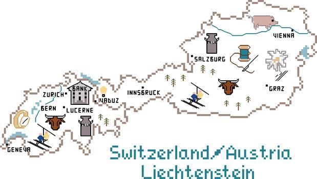 Switzerland, Austria and Liechtenstein Map - cross stitch pattern by ...