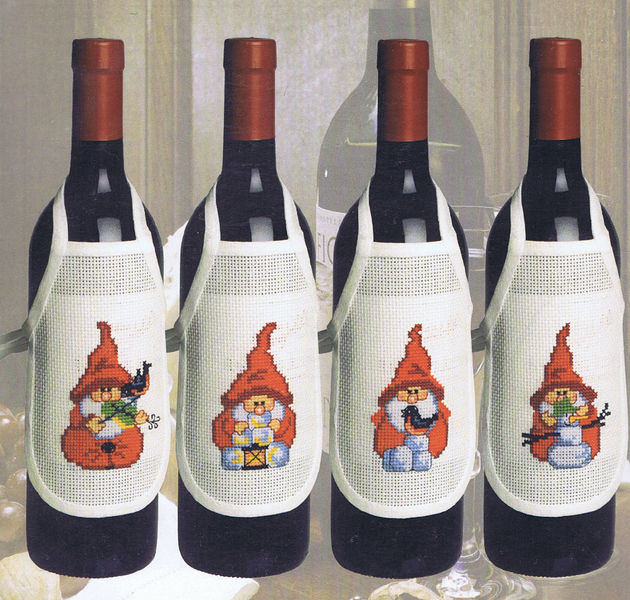 Gnome Wine Bottle Aprons Cross Stitch Kit By Permin Of