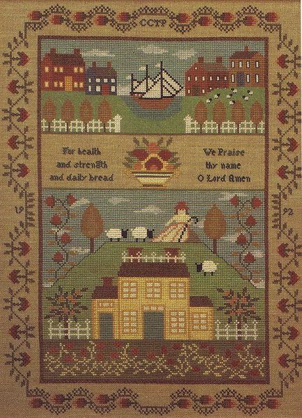 New England Schoolgirl Sampler Cross Stitch Pattern By