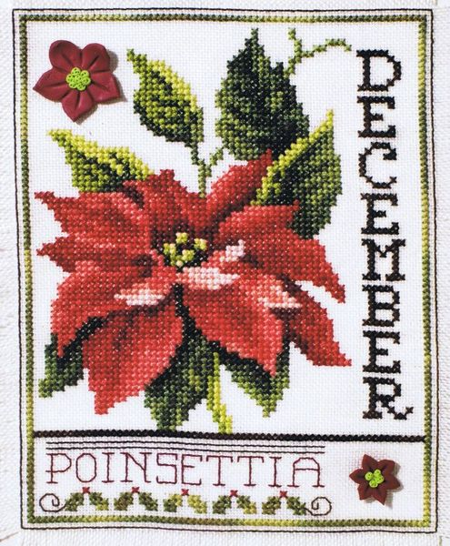 flowers of the month december poinsettia cross stitch pattern by
