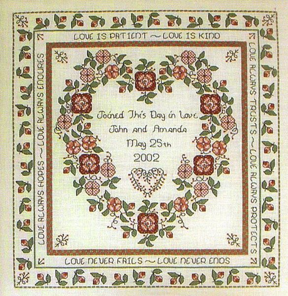 Baltimore Rose Wedding Sampler Cross Sch Pattern By Rosewood Manor