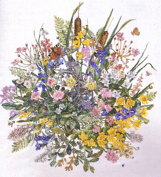 Wildflower Display Cross Stitch Kit By Permin Of Copenhagen
