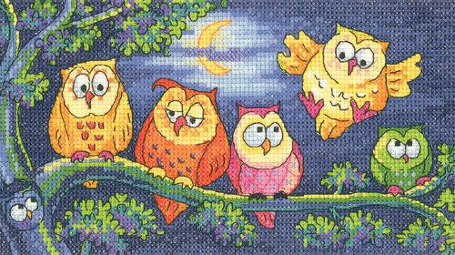 A Hoot Of Owls Cross Stitch Kit By Karen Carter
