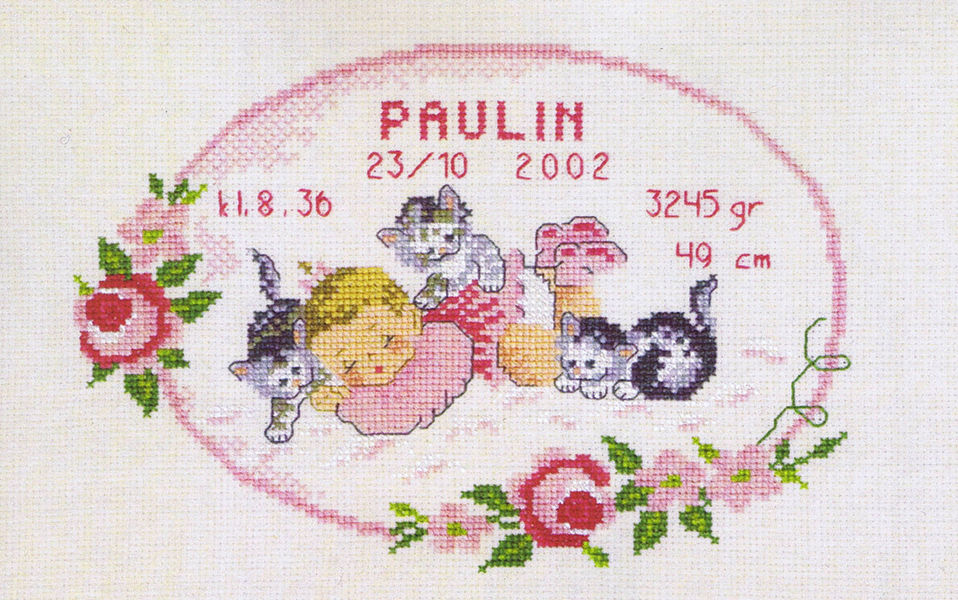 Baby Girl with Kittens Birth Record cross stitch kit by Permin – Birth Announcements Cross Stitch
