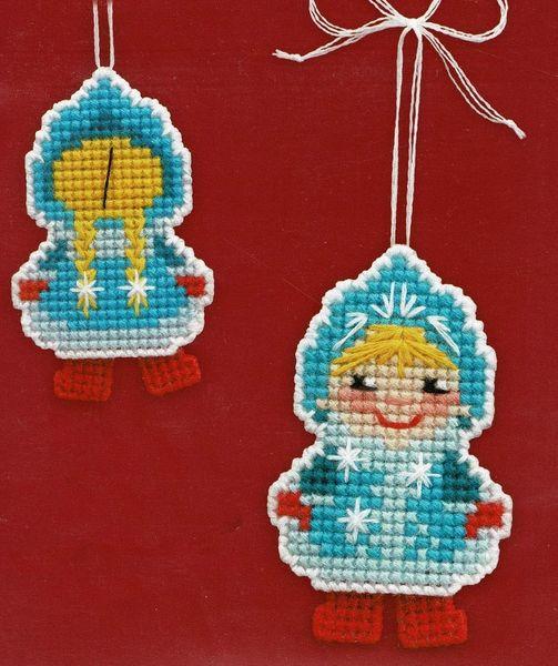 Christmas toy on plastic canvas cross stitch kit Snow Maiden