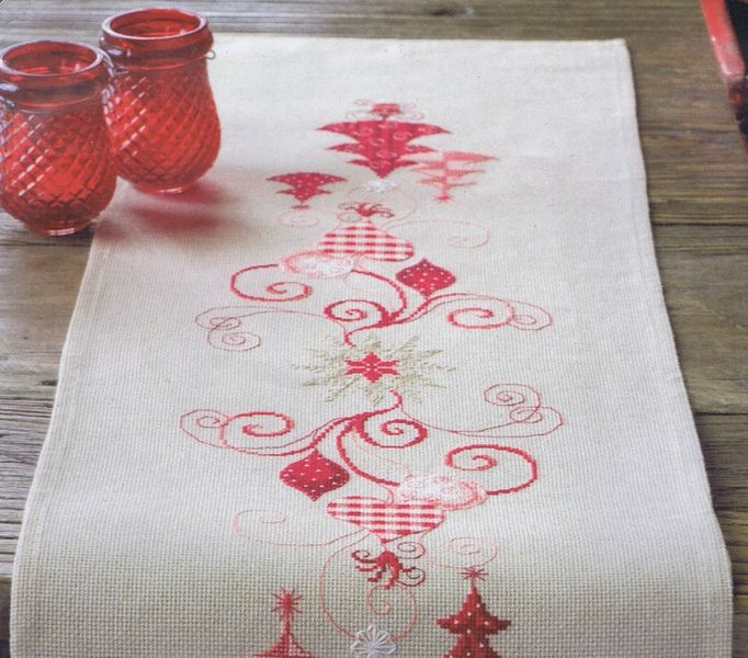 Red Christmas Decorations Table Runner Cross Stitch Kit By Vervaco