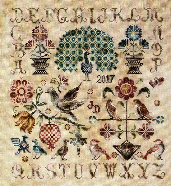 Vintage birds cross stitch pattern by jeannette douglas