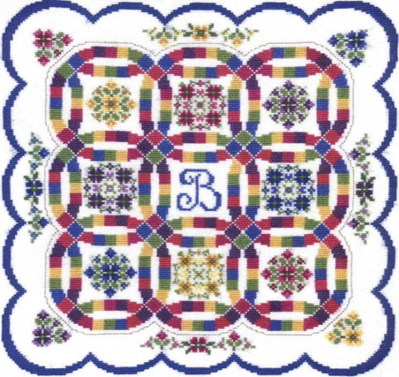 double wedding ring quilt sampler cross stitch pattern by the design connection inc - Double Wedding Ring Quilt Pattern