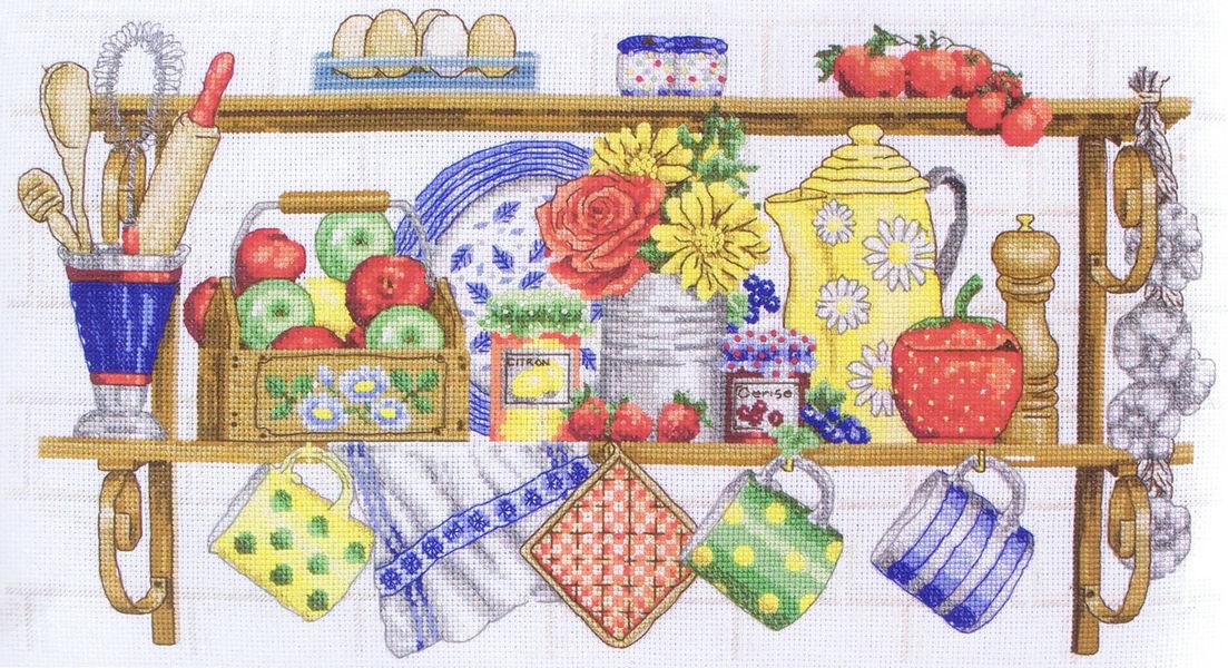 The kitchen shelf cross stitch kit by anchor for Cross stitch kitchen designs