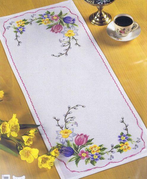 New Spring Flower Table Runner - cross stitch kit by Permin of Copenhagen CZ49