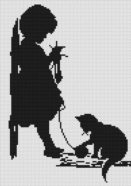 Silhouette Girl with Cat - cross stitch kit by Luca - S