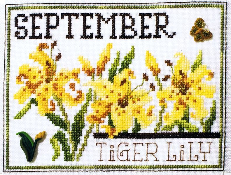 Flowers of the Month September - Tiger Lily - cross stitch pattern by Stoney Creek