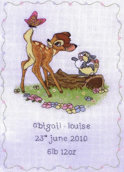 Bambi Birth Sampler Cross Stitch Kit By Disney By Anchor