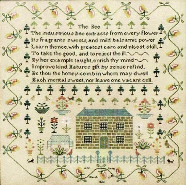 Ann Long 1826 by The Scarlett House cross stitch chart design primitive sampler quote embroidery bee honey hive honeycomb poem lyrical