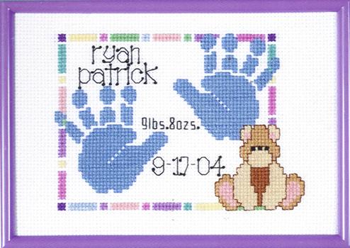 baby handprints birth announcement cross stitch kit by