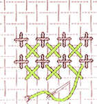 Interlocked upright and diagonal cross stitch