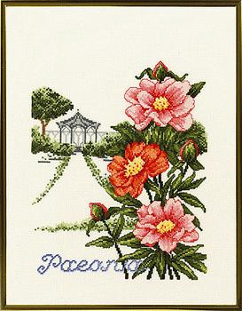 Pavilion and peonies
