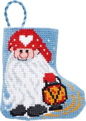 Elf with Lantern Mini Stocking - click for larger image