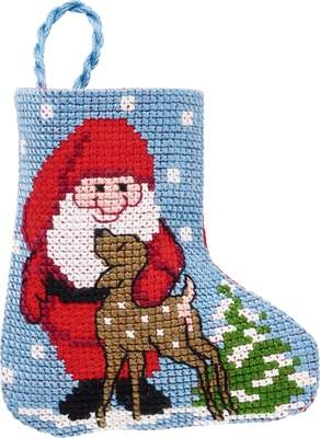 Santa with Deer Mini Stocking - click for larger image