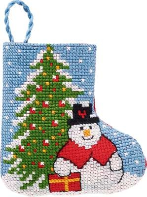 Snowman and Christmas Tree Mini Stocking - click for larger image