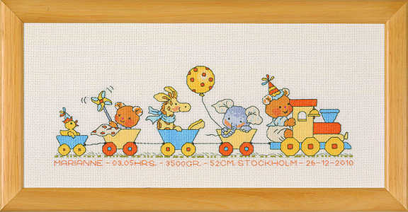 Happy Friends Train birth sampler - click for larger image