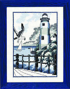 Blue and white lighthouse - click for larger image