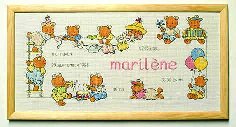 Happy Friends Birth Sampler - click for larger image