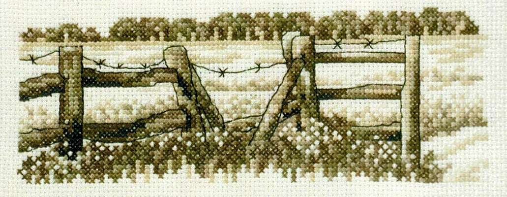 Field Fence in Sepia - click for larger image