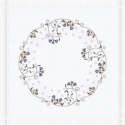 Circle with Blue and Cream Flowers Table Centre - click for larger image