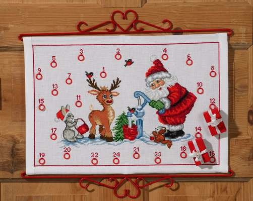 Santa with Woodland Animals Advent Calendar - click for larger image