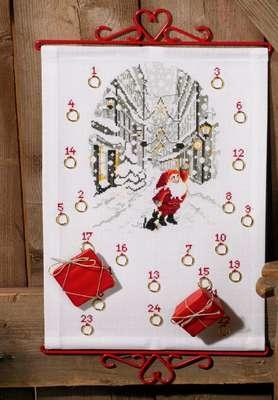 Santa's Elf in Snowy Street Advent Calendar - click for larger image