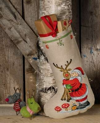 Santa and Rudolph Stocking - click for larger image