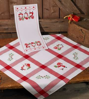 Santas Checked Table Cover