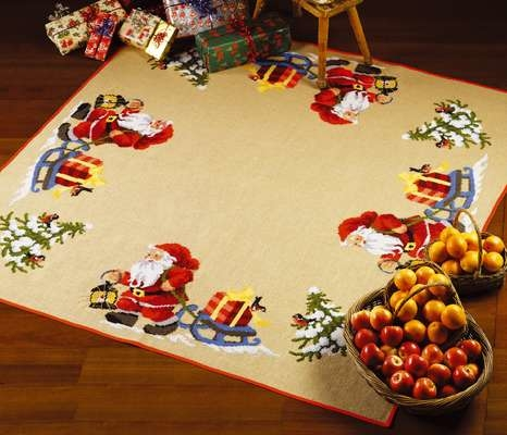 Santa with Sledge Square Tree Skirt - click for larger image