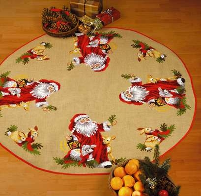 Santa with Animals Round Tree Skirt - click for larger image