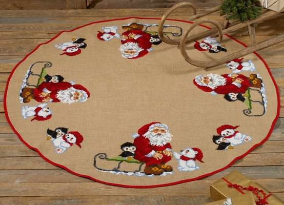 Santa with Penguins and Polar Bears Round Tree Skirt - click for larger image