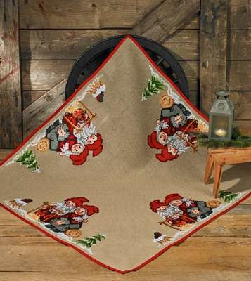 Christmas Mom and Dad Square Tree Skirt - click for larger image
