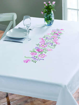 Pink and Lavender Flowers Large Table Cover - click for larger image