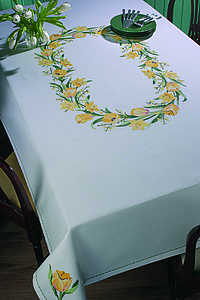 Crocus and daffodil tablecover - click for larger image